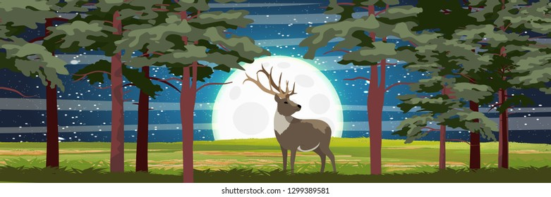 A big wild caribou reindeer in a pine forest. Big moon and night sky with stars. Animals of the North, Alaska, Russia, Canada, Scandinavia. Realistic Vector Landscape