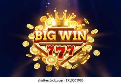 Big Win 777 label frame, golden banner, border winner, Vegas game. Vector illustration