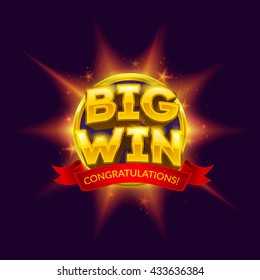 Big Win banner with red ribbon for your text. Vector illustration.