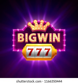 Big win casino banner text on the background of the scene. Vector illustration