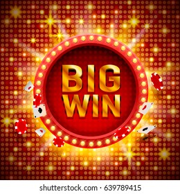 Big win casino signboard, game banner design. Vector illustration