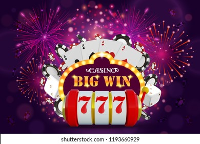 Big Win glowing banner for online casino, slot, card games, poker or roulette. Jackpot prize design background. Winner sign