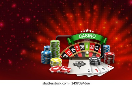 Big win illustration banner on red. Online Jackpot casino roulette in mobile phone. Chips, playing card, dice. Marketing Luxury Banner Jackpot Online Casino game roulette in Smartphone play now poster