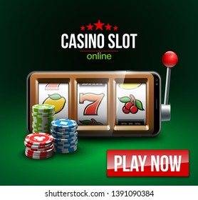 big win illustration Online Jackpot casino Slot machine banner in mobile phone. Chips, playing card, dice. Marketing Luxury Banner Jackpot Online Casino game Slot-machine in Smartphone play now poster