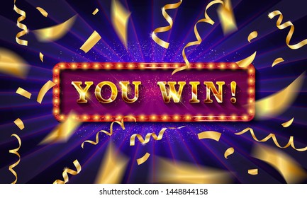 Big Win Jackpot. You Win text over color golden confetti background, Vector illustration