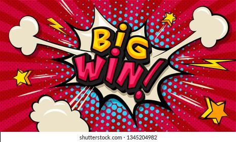 Big Win! Pop art cloud bubble. Funny speech shopping sale icon bubble. Trendy Colorful retro vintage comic background in pop art retro comic style. Illustration easy editable for Your design.