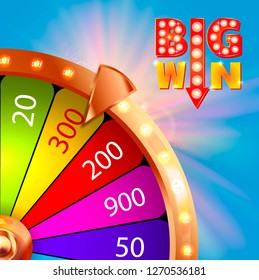 Big win retro glowing banner. Casino fortune winner sign prize. Jackpot label prize.