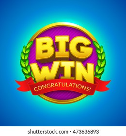 """""""Big Win"""" sign with red ribbon for your text. Eps10 Vector illustration."""
