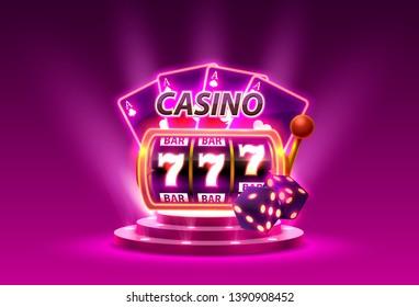 Big win slots 777 banner casino. Vector illustration