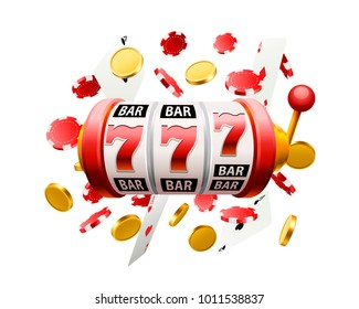 Big win slots 777 casino objects on the white background. Vector illustration