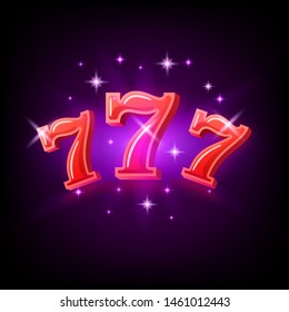 Big win slots red 777 banner casino on the purple background. Vector illustration.