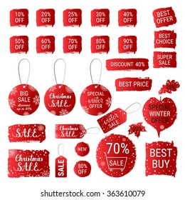 Big winter sale, Christmas sale, special winter offer, best price red gradient banners, labels, tags, shapes with hand lettering. Vector collection of paint brush strokes. Hand drawn design set.
