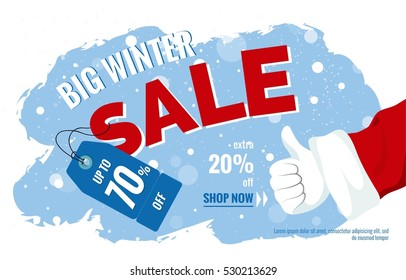 Big winter sale horizontal banner. Snowy background with Santa Claus Thumb up gesture. Vector illustration