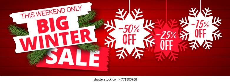 Big winter sale offer, banner template. Colored paper origami snowflake with lettering, isolated on wooden background. After Christmas sale tags. Shop market poster design. Vector illustration EPS 10