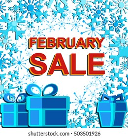 Big winter sale poster with FEBRUARY SALE text. Advertising blue and red vector banner template