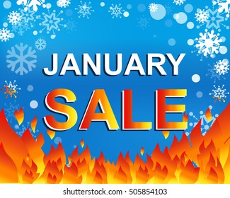Big winter sale poster with JANUARY SALE text. Advertising blue and red vector banner template