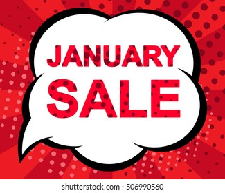 Big winter sale poster with JANUARY SALE text. Advertising blue and red vector banner template. Pop art style