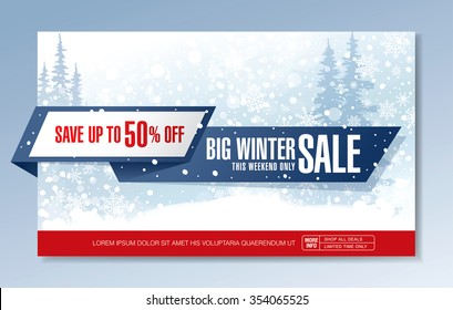 Big winter sale. Vector banner design