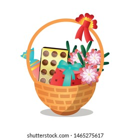 Big wood gift basket with sweet candy chocolate