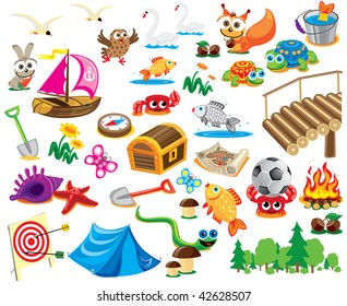Big world picture of collection cartoon personage.