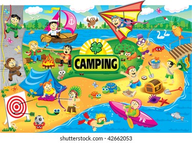 Big world picture of collection cartoon personage. Camping.