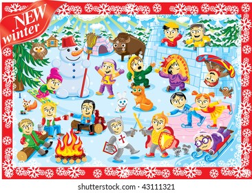Big world picture of collection cartoon personage. Winter Christmas holiday. Camping.