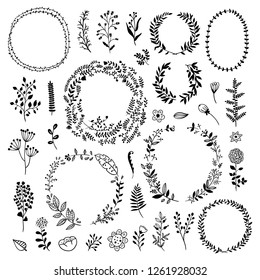 Big wreath and plants collection. Vector floral elements, leaves and flowers