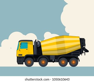 Big yellow concrete mixer truck, sky with clouds in background. Banner layout with cement mixer. Vintage color stylization. Construction machinery vehicle and ground works. Flatten illustration vector