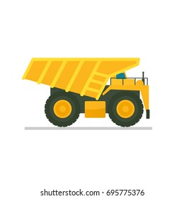 big yellow mining truck. Vector illustration isolated on white background