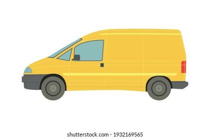 Big yellow minivan on white background - Vector illustration