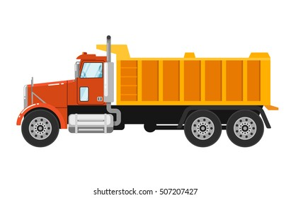 Big yellow tipper truck isolated on white background. Vector tipper truck or dump truck.