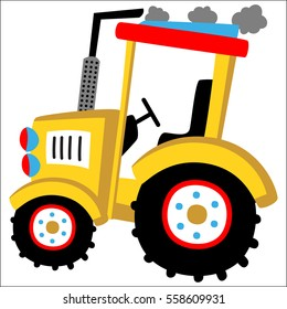 big yellow tractor vector cartoon