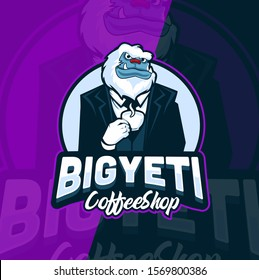 big yeti coffee shop mascot logo design