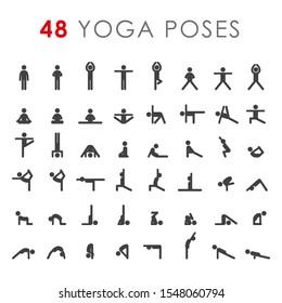 Big yoga poses asanas icons set. Vector illustrations. For logo yoga branding. Yoga people infographics. Stick figures. Pilates stretch gymnastics fitness poses