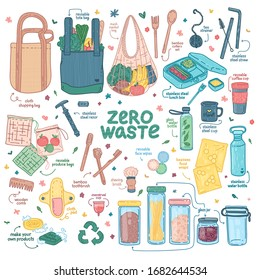 Big Zero waste elements set. Eco friendly design with recyclable and reusable products. Zero waste lifestyle icon for shopping, hygiene, kitchen, takeaway. No plastic. Cartoon doodle style. Vector.