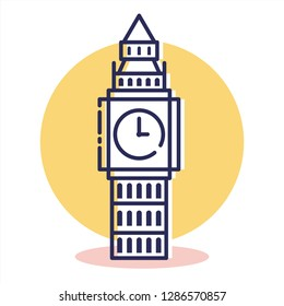 Bigben Icon - Travel and Destination  with Outline Style