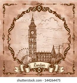 Bigben in London. Landscape on a vintage postcard, sketch, engraving.