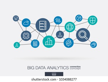 Bigdata integrated thin line web icons. Digital neural network interact concept. Connected graphic design polygons and circles system. Abstract background for big data center, research, analysis