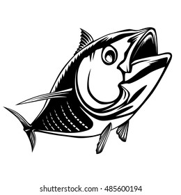 Bigeye bluefin tuna fishing logo illustration. Vector illustration can be used for creating logo and emblem for fishing clubs, prints, web and other crafts.