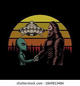 Bigfoot and alien conspiracy sunset retro vector illustration for your company or brand