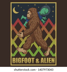 bigfoot & alien retro vector illustration