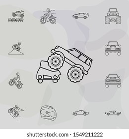 Bigfoot car crushes cars icon. Bigfoot car icons universal set for web and mobile