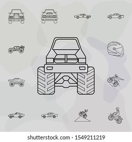 Bigfoot car front icon. Bigfoot car icons universal set for web and mobile