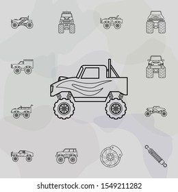 Bigfoot car icon. Bigfoot car icons universal set for web and mobile
