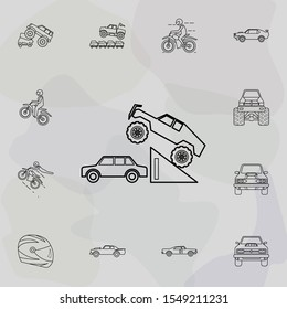 Bigfoot car in a jump icon. Bigfoot car icons universal set for web and mobile