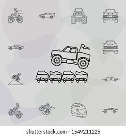 Bigfoot car jumping through cars icon. Bigfoot car icons universal set for web and mobile