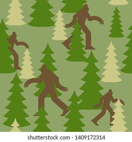 Bigfoot in forest military pattern. Yeti clothing texture. Army background. sasquatch Protective soldier ornament. Vector illustration