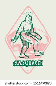 Bigfoot in front of the mountains - Sasquatch vintage t-shirt print in pink and green colors - vector illustration best for screenprinting