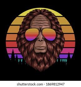 Bigfoot head eyeglasses sunset retro vector illustration for your company or brand