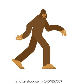 Bigfoot isolated. Yeti brown. Abominable snowman. sasquatch vector